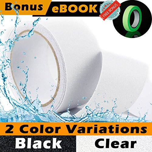 Anti Slip Tape Clear - Bonus Glow In The Dark Tape + eBOOK| Tread High Friction Strong Grip Abrasive | Improves Traction and Prevents Risk of Slippage for Indoor Outdoor Stair Bathtub Shower 2''X16'