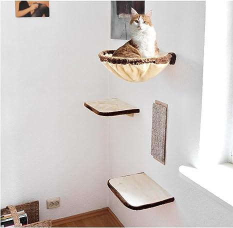 Silvio Design 21877.000 – Pared de Escalada para Gatos, 4 Piezas, Color Beige y marrón