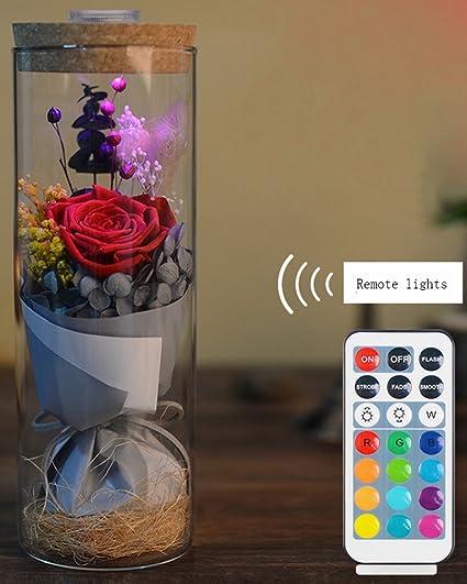 yacn preservar flores en botellas de cristal con luces de colores combinado con una cubierta de