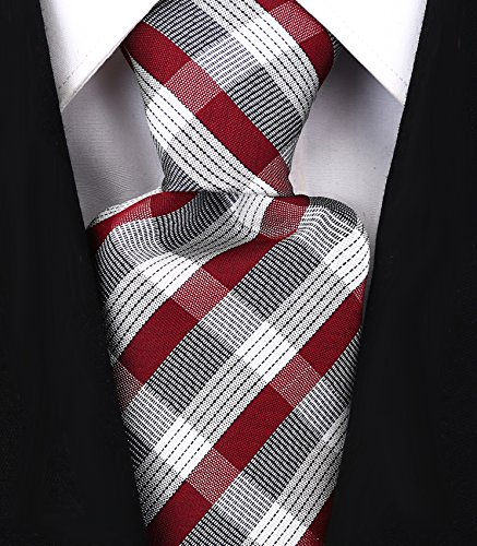 - Check Stripe Ties for Men - Woven Necktie - Burgundy