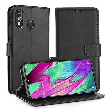 Simpeak Funda Galaxy A40, Funda Libro Cuero Magnética Carcasa Samsung Galaxy A40 con Tapa Soporte Plegable/Ranuras para Tarjetas y Billetes/Acceso a ...