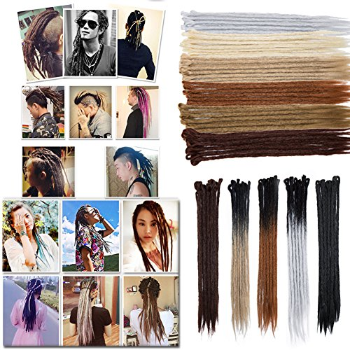 Light Auburn Dreadlocks Hair Extensions for Men Women Reggae Braids Dreads Faux Locs Crochet Hair 20