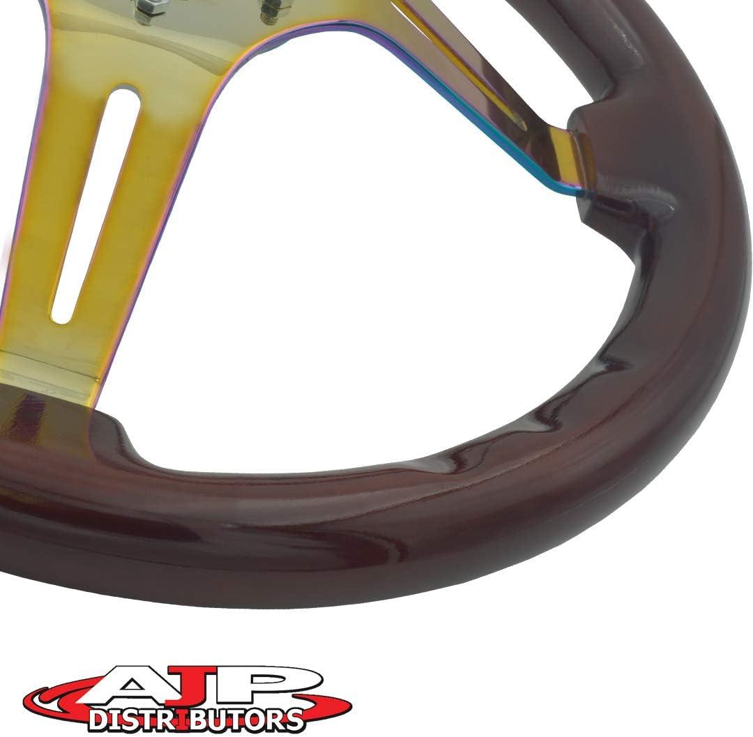 Dark Wood AJP Distributor Universal 345mm 6 Bolt Hole Deep Dish Streak Style Neo Chrome Center Wood Grain Trim Handle Steering Wheel Blank Horn Button JDM Euro VIP Racing Track Drift Drag