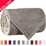 Sonoro Kate Fleece Blanket Soft Warm Fuzzy Plush Throw(60-Inch-by-43-Inch) Lightweight Cozy Bed Couch Blanket,Easy Care, Light Grey