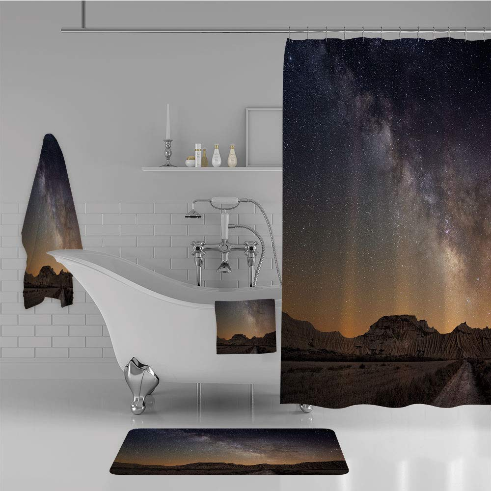 iPrint Bathroom 4 Piece Set Shower Curtain Floor mat Bath Towel 3D Print,Bardenas Spain Ethereal View Hills Arid Country,Fashion Personality Customization adds Color to Your Bathroom.