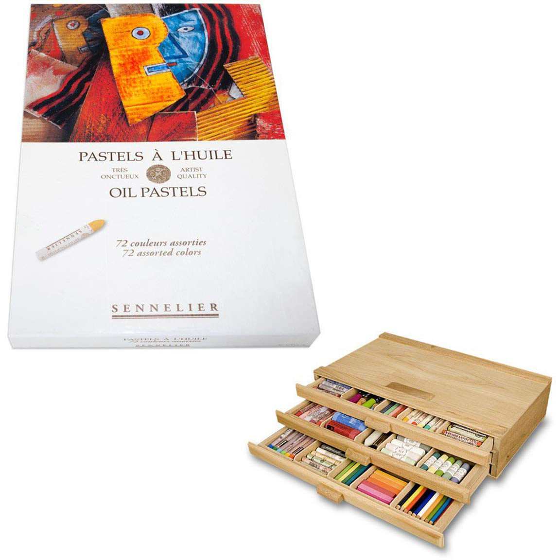 Sennelier Pastels Art Gift Set & 3 Drawer Wood Pastel Storage Box - Sennelier Oil Pastel Assorted Colors - Set of 72