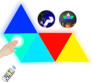 Triangle Wall Light with Remote Control,Smart LED Modular Light Panels Touch-Sensitive Multicolor RGBW Night Light DIY Geometry Splicing Quantum Light for Bedroom Living/Gaming Room Party Decor,5 Pack