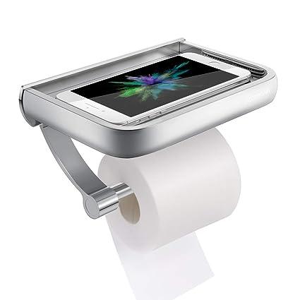 Homemaxs Porte Papier Toilette pour fixer au mur, Derouleur Papier WC  Aluminium Antirouille avec Tablette de Rangement pour Téléphone Mobile