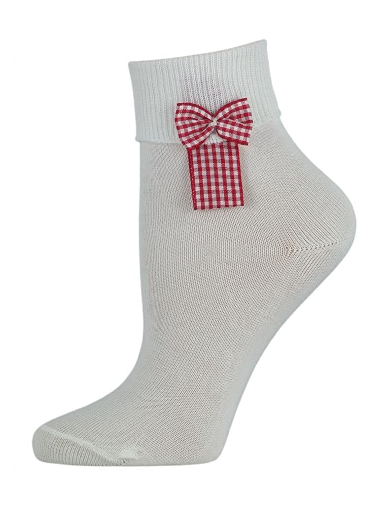 3 Pairs of Girls White Cotton Ankle Socks with a Gingham Bow - UK Made
