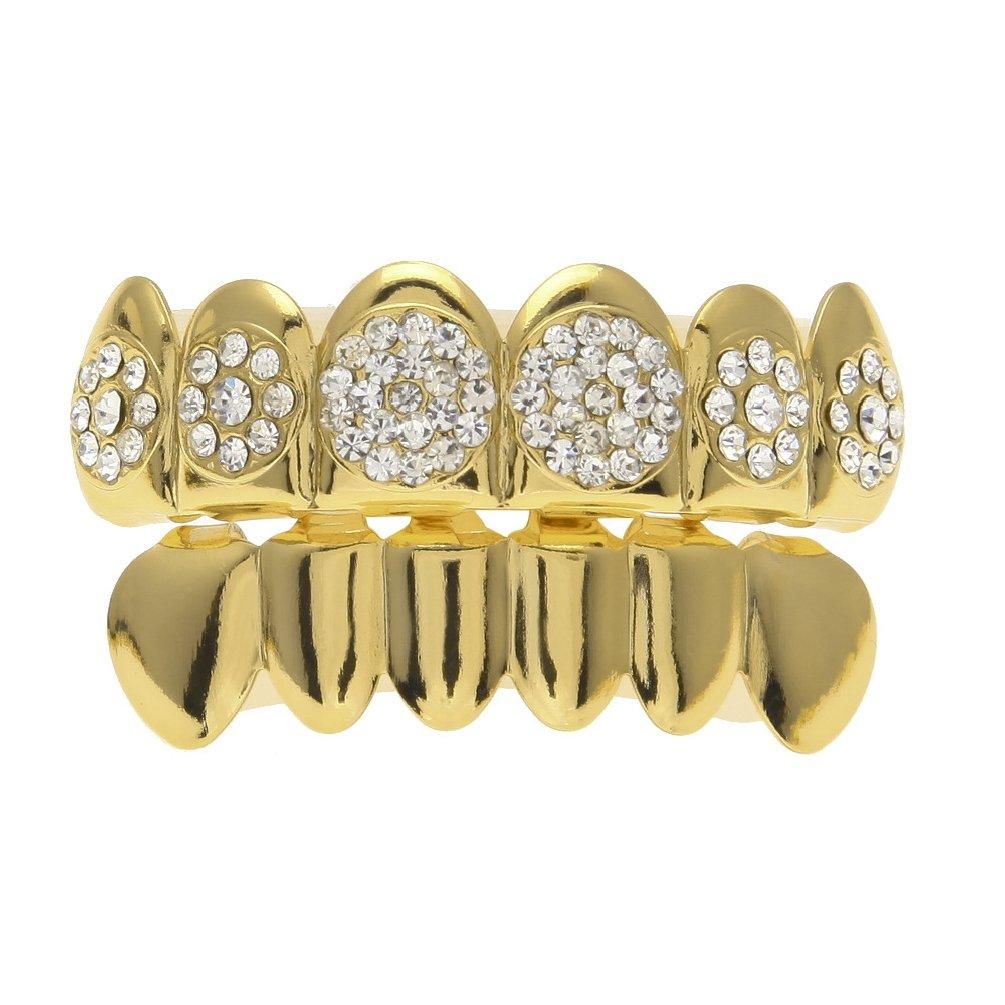 Letter love Bling Tooth Hip Hop Golden Crystal Braces Vampire Fang Top Bottom Grillz Teeth