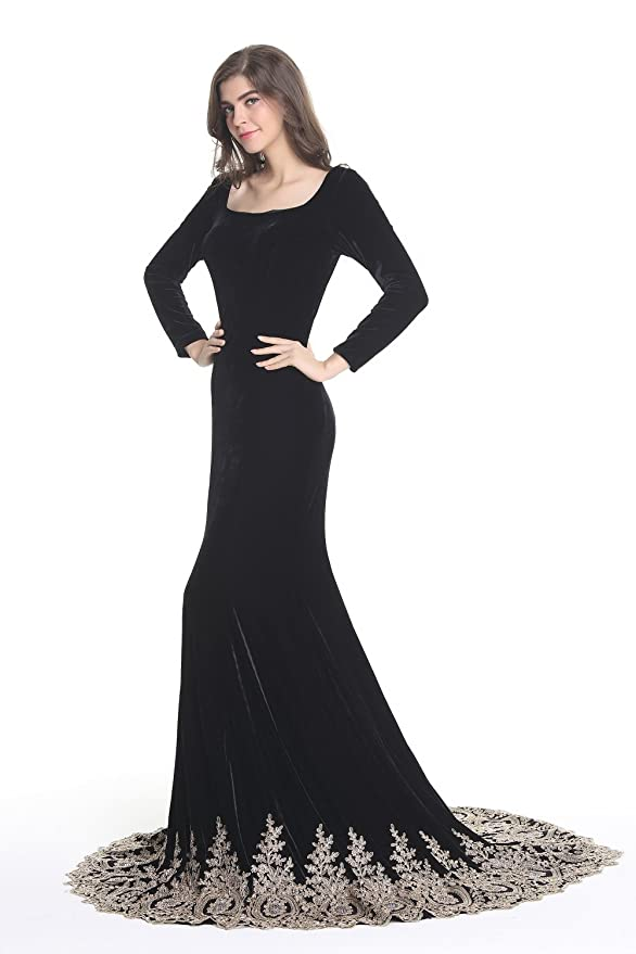 Amazon.com: Kings Love Womens Rhinestone Lace Mermaid Velvet Long Sleeve Evening Dresses: Clothing