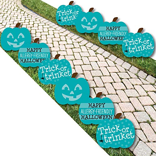 Teal Pumpkin - Lawn Decorations - Outdoor Halloween Allergy Friendly Trick or Trinket Yard Decorations - 10 Piece for $<!--$39.99-->