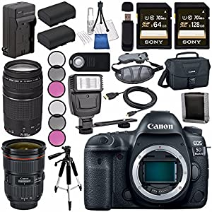 Canon EOS 5D Mark IV DSLR Camera (Body Only) 1483C002 + EF 24-70mm f/2.8L II USM Lens + Canon EF 75-300mm f/4-5.6 III Telephoto Zoom Lens Bundle