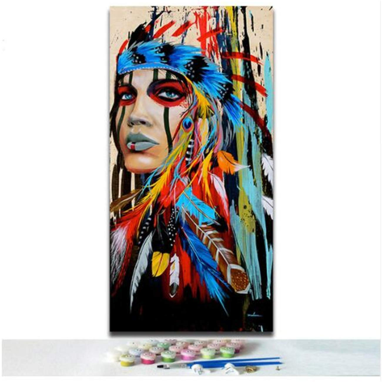 JESC DIY Paint by Number Oil Painting Native American Indian with Feather Paintworks for Living Room for Kids and Adults for Christmas Room Decorations No Frame (50x100cm = 20x40inch)
