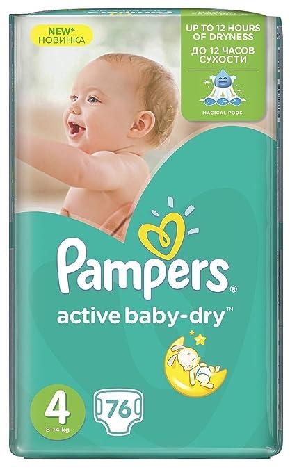 PAMPERS Pañales Baby Dry máxima de talla 4 Peso: 8 – 14 kg/Alimentación