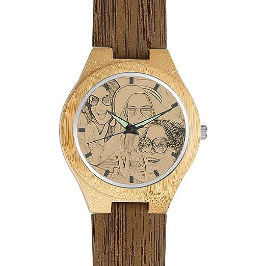 SOUFEEL Reloj Madera Personalizado Foto y Grabado Punteros Luminosos Cuarzo con Correa Cuero Regalo Pessonalizado para Familia Hombre Mujer Amigo Pareja: ...
