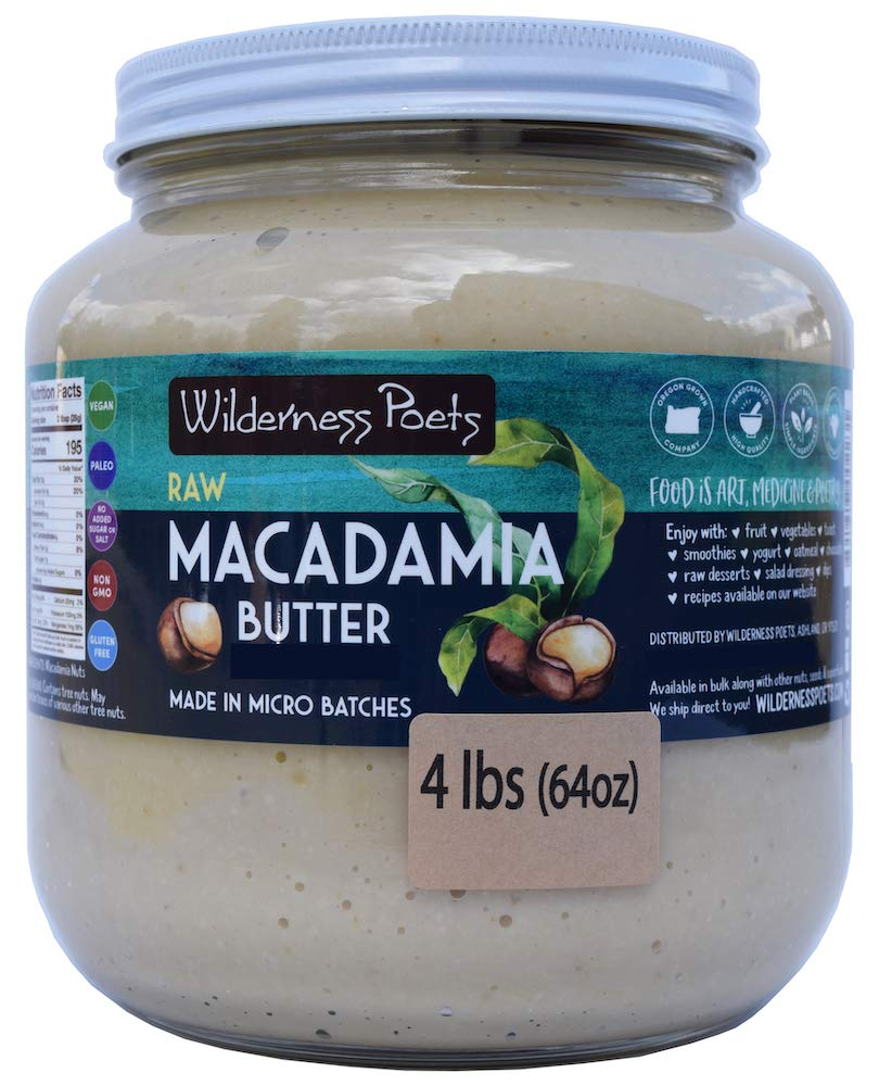 Wilderness Poets, Raw Macadamia Butter (64 Ounce - 4 Pound/Half Gallon)