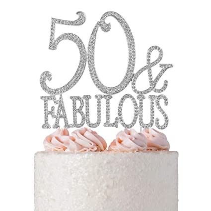 Image Unavailable Not Available For Color 50Fabulous Rhinestone Birthday Cake Topper