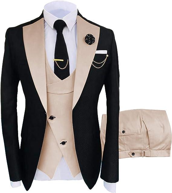 Classic Mens Blue 3 Piece Sim Fit Best Man Notch Lapel Tuxedo Wedding Prom Suits