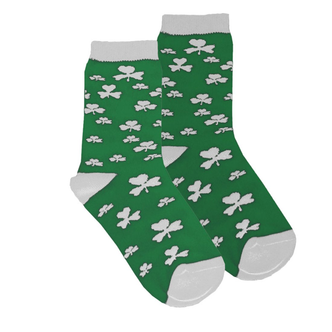 Kids Socks With White Shamrock Print, Green Colour Traditional Craft