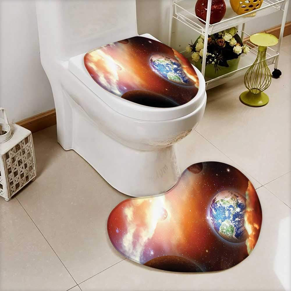 vanfan Printed Bath Heart shaped foot pad Set Cloud Nebula Stars in Solar System e with PlanEarth Pluto and Neptune Toilet cushion suit