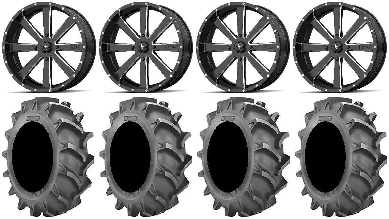 Bundle - 9 Items: MSA Milled Flash 22' Wheels 40x9.5 BKT 171 Tires [4x137 Bolt Pattern 12mmx1.25 Lug Kit] Multiple