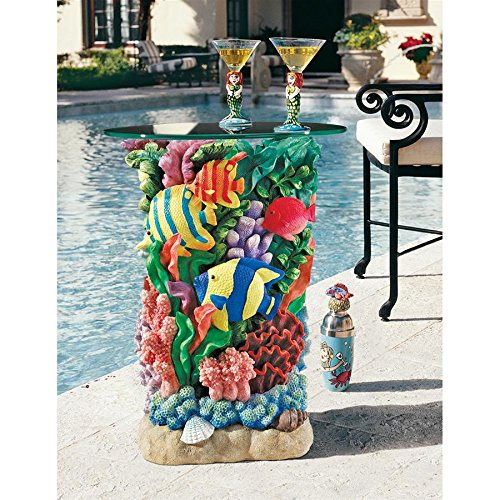 Design Toscano The Great Barrier Reef Glass-Topped Table, Multicolored (Reef Coral Table Coffee)
