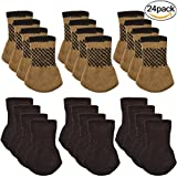 Chair Socks, Outgeek 24 Pack Knitted Furniture Feet Socks Chair Leg Floor Protectors (Brown and Coffee)