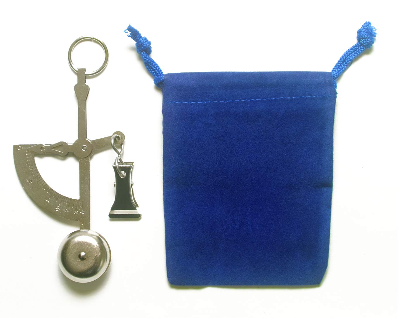 AWS Hand Held Weigh Scale Silver Analog 100 Gram or 4 Ounce Capacity with Blue Velvet Pouch Bundle