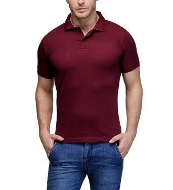 70306b6d Scott Men's Plain Rich Cotton Polo T-Shirt - Maroon: Amazon.in ...