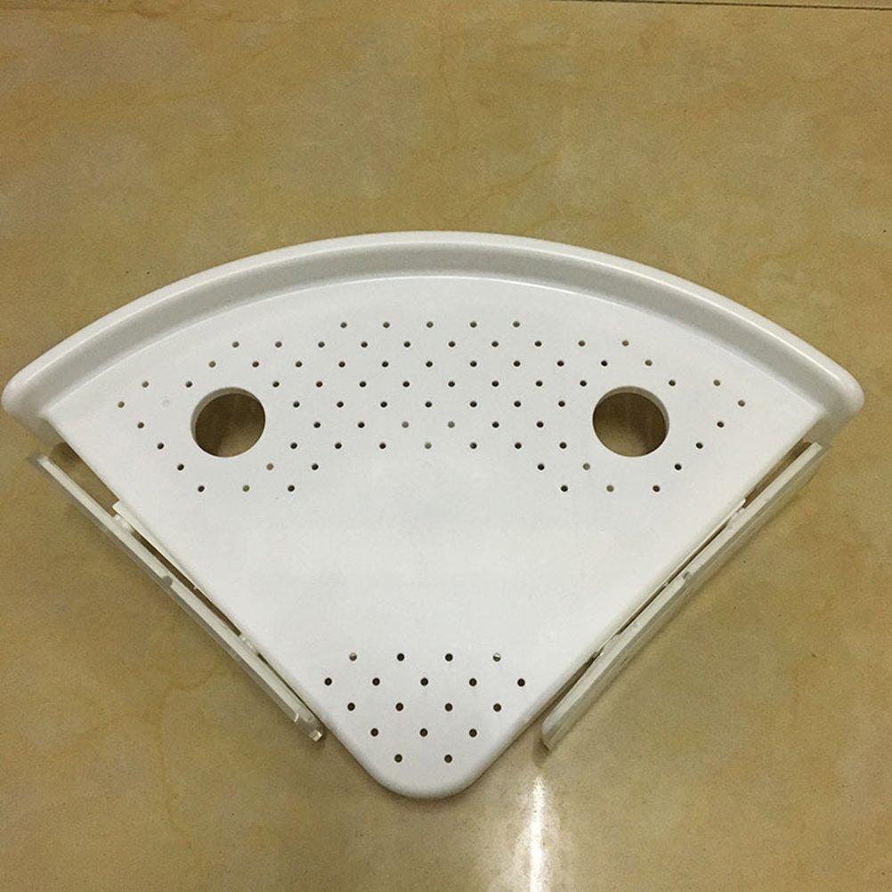 Bianca BESTOMZ Mensola angolare a ventosa da bagno e cucina portaoggetti in plastica