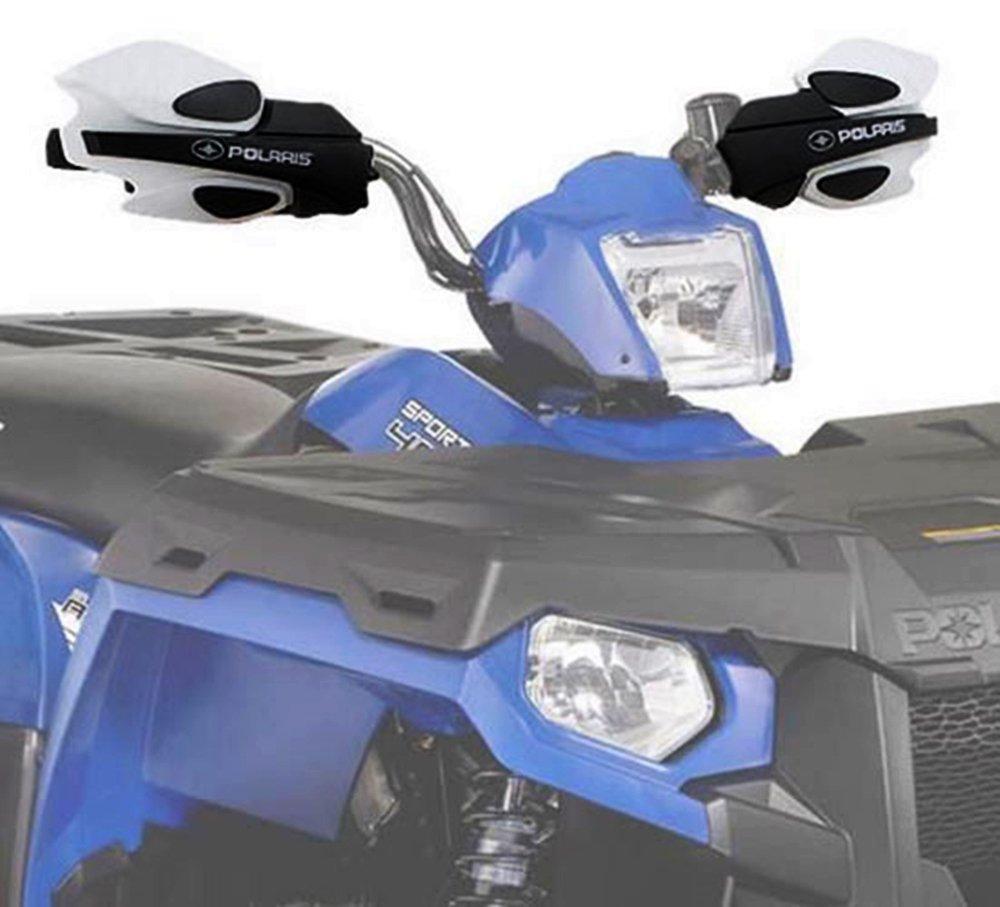 Genuine 2013 - 2015 All Polaris Sportsman, Scrambler ATV Models White Hand Guard Brush Wind w/ Mount 2876883_2879380