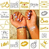 Bachelorette Bride, Bride Tribe, Team Bride, and More, Temporary Flash Tattoos – Pack of 68 (4 Sheets) Gold & Silver Waterproof Temporary Tattoos – Bachelorette and Wedding Party Accessories