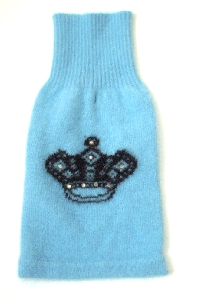 The Dog Squad Mimi Crown Turtleneck Pet Sweater, Small, Light Blue by The Dog Squad