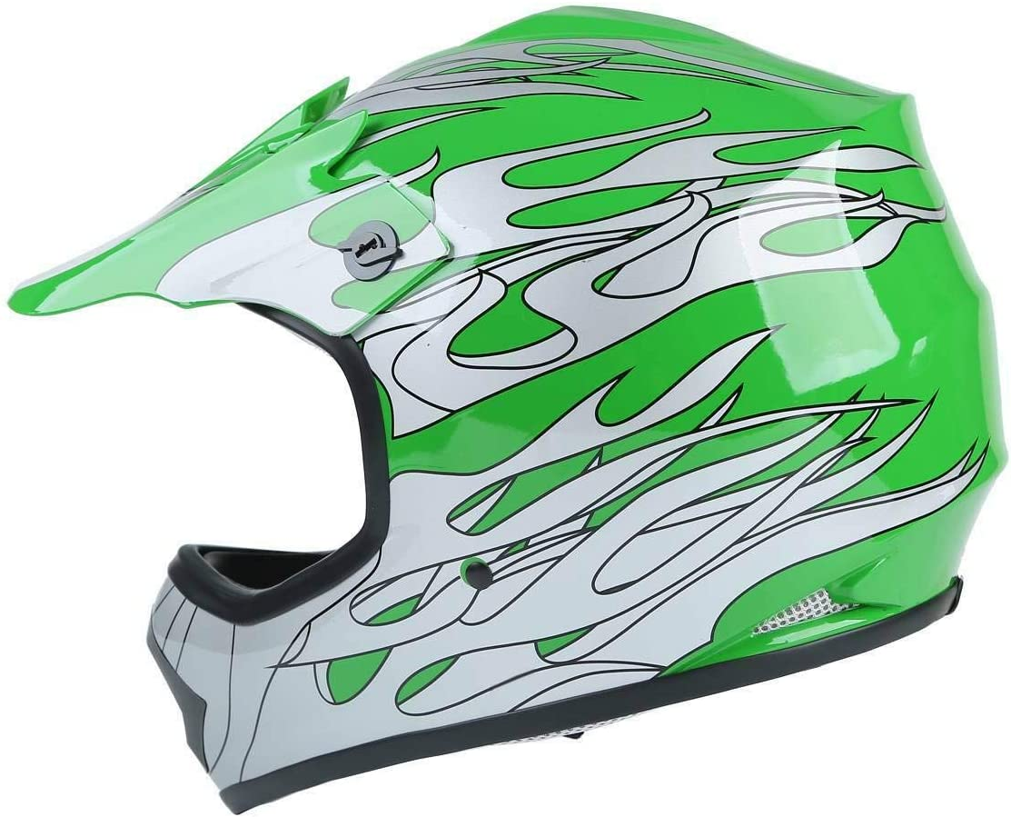 Small TCT-MT Helmet w//Goggles+Gloves DOT Youth Kids Motocross Helmet Green Flame Dirt Bike ATV Offroad Child Helmets Gloves Goggles S~XL