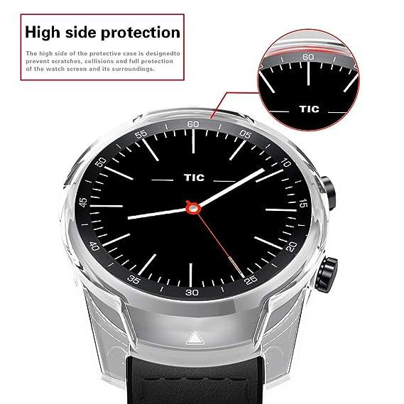 KTcos Compatible con Ticwatch Pro Funda, Slim Fit Funda Protectora Ultra Liviana de TPU Cubierta de Parachoques para Ticwatch Pro Smartwatch (Claro)