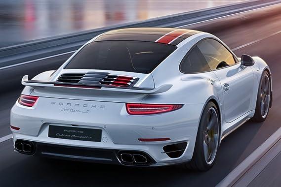 Amazon.com: Porsche 911 Turbo S Coupe SG50 Custom (2016) Car Print on 10 Mil Archival Satin Paper White/Black Front Side Static View 11