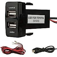 Dual Port USB Autolader met Audio Socket USB Opladen voor Digitale Camera's/Mobiele Apparaten voor Toyota