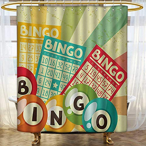lacencn Vintage,Shower Curtains Waterproof,Bingo Game with Ball and Cards Pop Art Stylized Lottery Hobby Celebration Theme,Fabric Bathroom Decor Set with Hooks,Multicolor,Size:W60 x L72 inch by lacencn