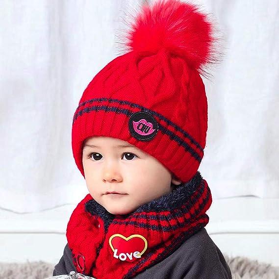 d8468df9f54 DAY8 Bonnet Bébé Fille Hiver Pompom 0.5-8 Ans Tricotés Bonnet Bébé Garçon  Naissance Chaud Tube Echarpe Enfant Fille Automne Ensemble Garçon Bonnet et  ...