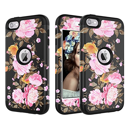 iPod Touch 6 Case, iPod Touch 5 Case, CreaDream Heavy Duty High Impact Armor Case Cover Protective Case for Apple iPod Touch 5 6th Generation (Flower) (Case 5 Protective Flower Ipod)