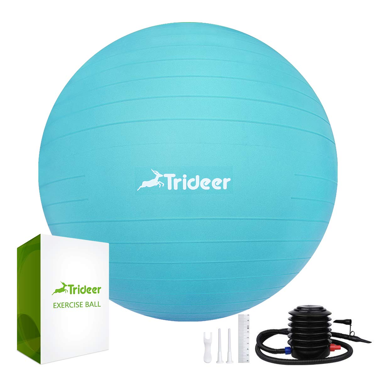 Trideer Exercise Ball, Yoga Ball, Birthing Ball with Quick Pump, Anti-Burst & Extra Thick, Heavy Duty Ball Chair, Stability Ball Supports 2200lbs (Office&Home) (Turkis, XXL (78-85cm))