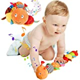 Jcobay Musical Caterpillar Toy Interactive Multicolored Infant Toy Stuffed Cuddly Baby Toy with Ruler Design, Bells and Rattl