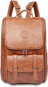 Vintage Leather Backpack, Slim Laptop Backpack Travel Waterproof Pack College School Bookbag Weekend Daypack Bag for Men Women,Brown.