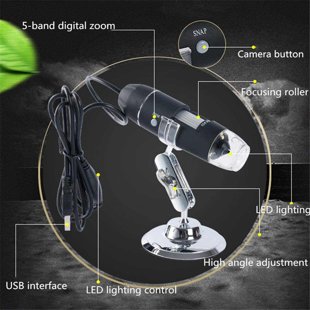 ROBDAE Microscope 1600X HD Digital Microscope Industrial Medical Beauty Magnifier Handheld USB Electron Microscope Explore The Microscopic World Color : Black, Size : Free Size