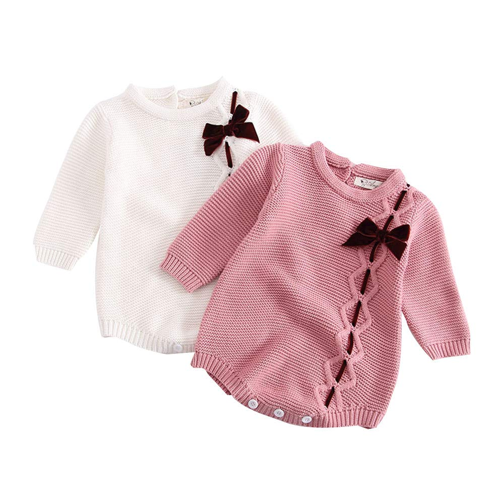 Amazon.com: Goodtrade8 Baby Girl Boy Bow Knit Clothes Long Sleeve Crochet Bodysuit Romper Fashion Home Cold Winter Outfit: Clothing