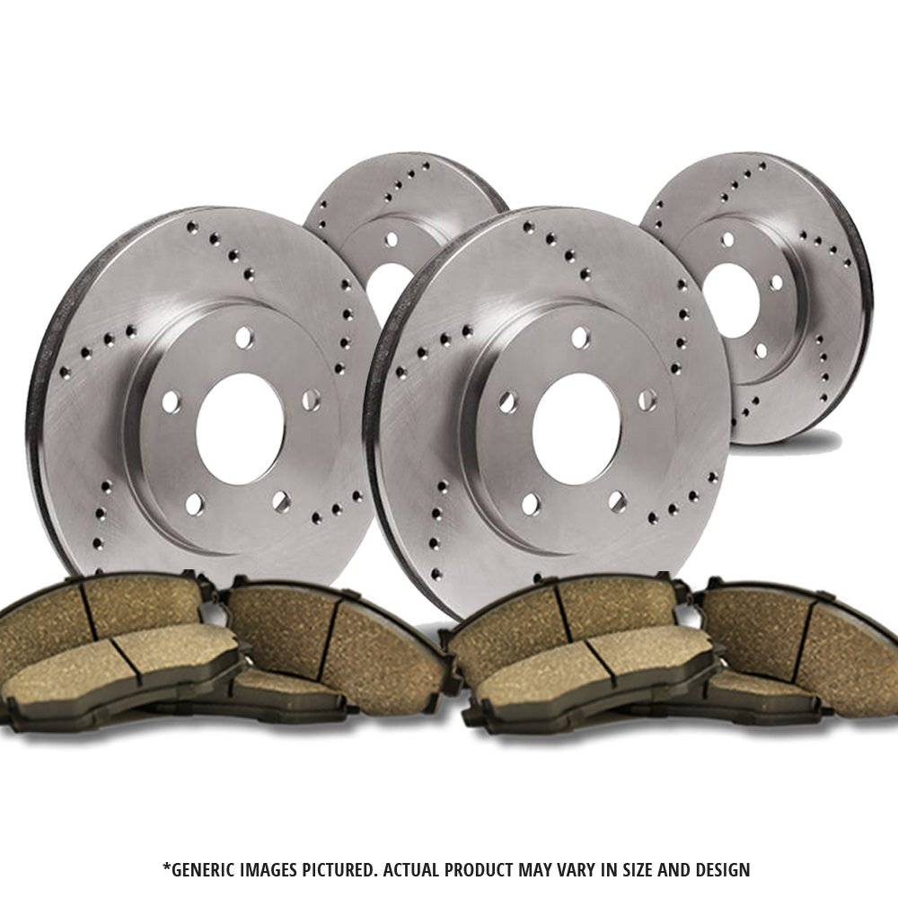 6lug 4 Ceramic Pads Front Kit -Combo Brake Kit 2 Heavy Duty Cross Drilled Extra-Life Premium Disc Brake Rotors