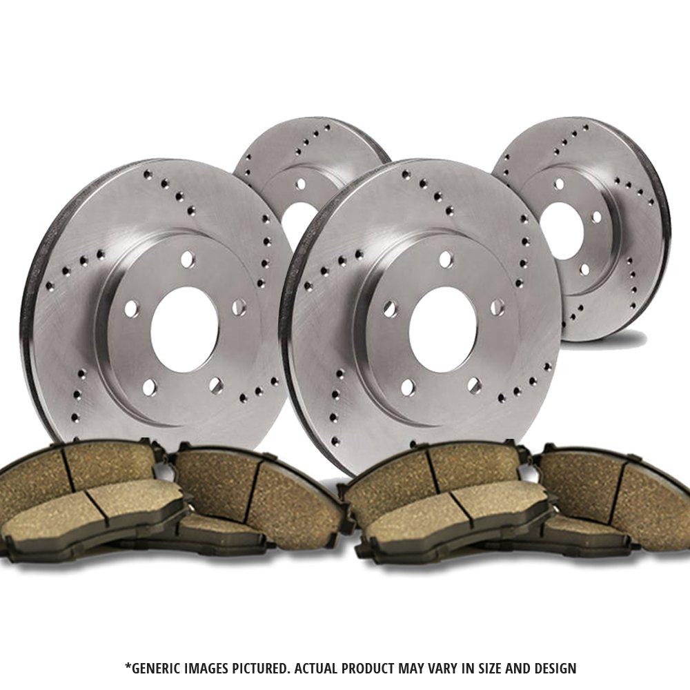 -Combo Brake Kit 4 Semi-Metallic Pads 4lug 2 Heavy Duty Cross Drilled Extra-Life Premium Disc Brake Rotor Front Kit