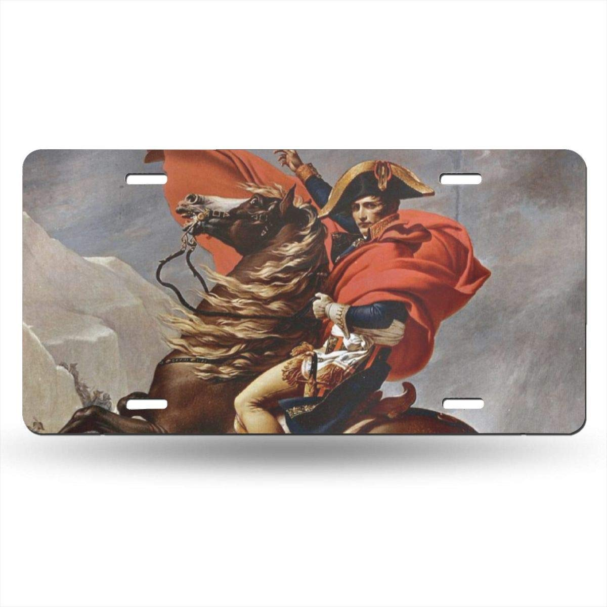 Anwei Napoleon Crossing The Alps License Plate Car Auto Tag Aluminum Personalized Metal Sign for Car Decoration White