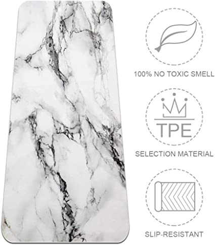 Amazon Com Tikismile Marble Pattern Extra Large Yoga Mat Eco Friendly High Density Anti Tear 72 X 24 Thickness 1 4 Inch Non Slip Fitness Mat For Pilates Meditation Floor Exercises Mat Sports